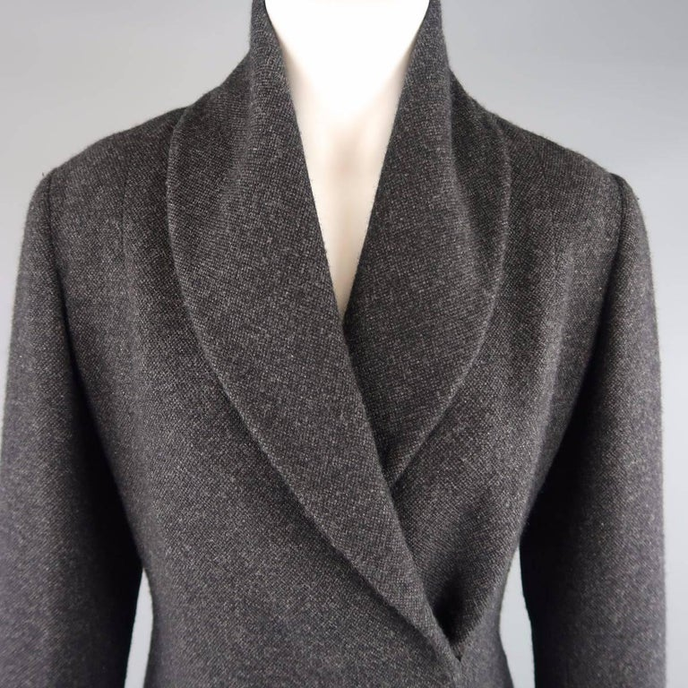 RALPH LAUREN COLLECTION jacket in charcoal gray wool cashmere fabric featuring a shawl collar and wrap closure with hidden snap. Made in USA.   Excellent Pre-Owned Condition. Marked: 8   Measurements:   Shoulder: 16 in. Bust: 38 in. Sleeve: 25