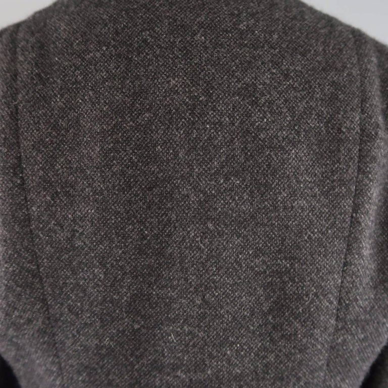 Women's RALPH LAUREN Size 8 Charcoal Wool / Cashmere Shawl Collar Wrap Jacket For Sale