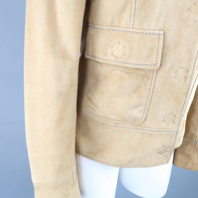 DOLCE & GABBANA Size 4 Beige Suede Blue Stitching Snap Jacket 7