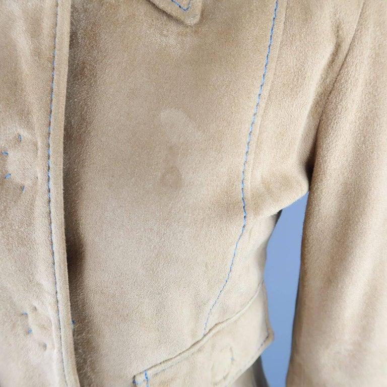 DOLCE & GABBANA Size 4 Beige Suede Blue Stitching Snap Jacket 6