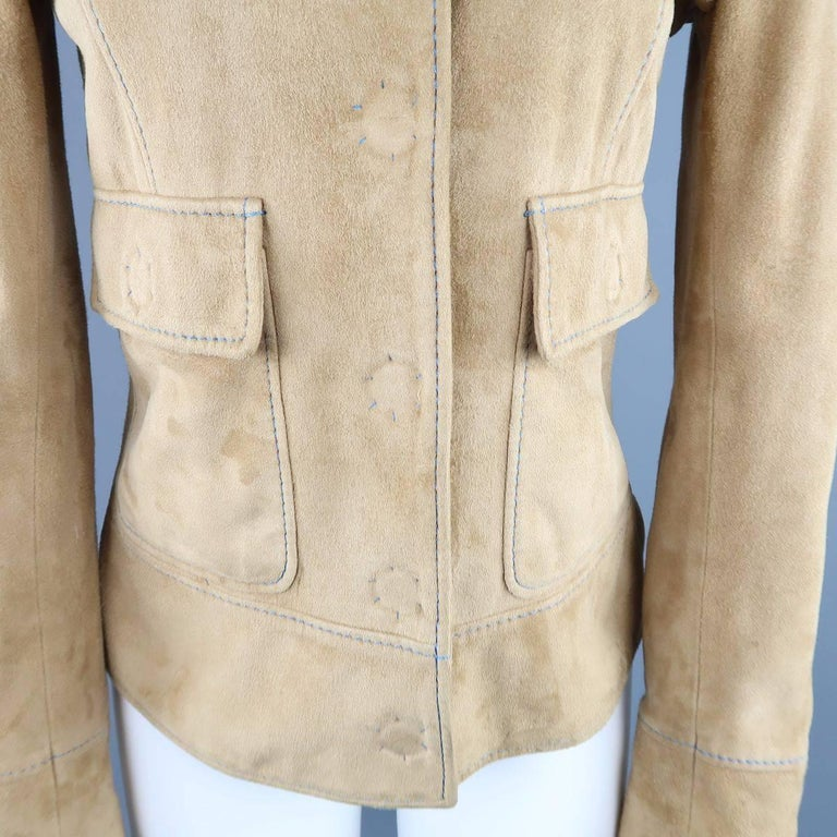 DOLCE & GABBANA Size 4 Beige Suede Blue Stitching Snap Jacket 4