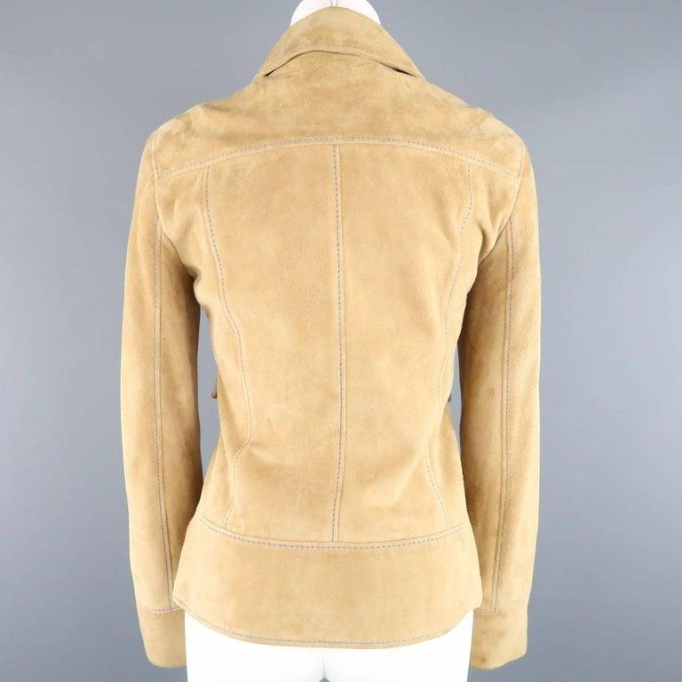 DOLCE & GABBANA Size 4 Beige Suede Blue Stitching Snap Jacket 8
