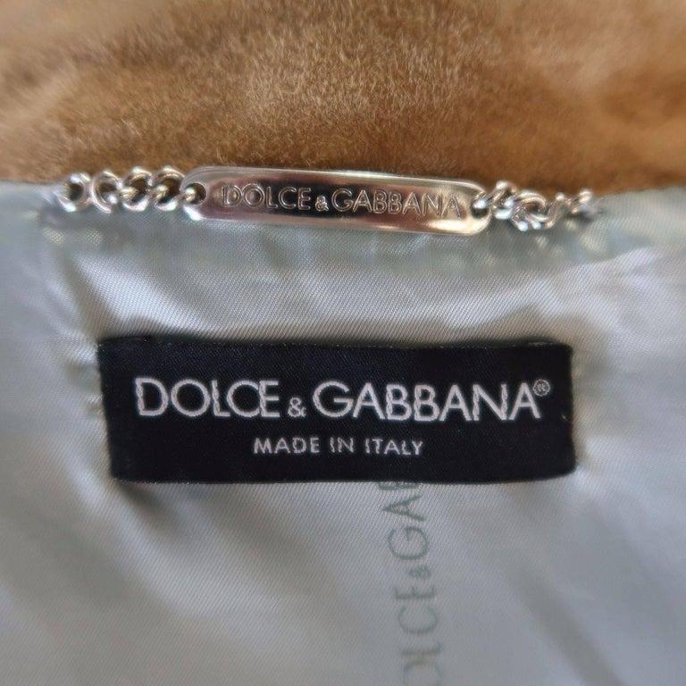 DOLCE & GABBANA Size 4 Beige Suede Blue Stitching Snap Jacket 10