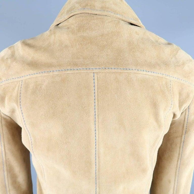 DOLCE & GABBANA Size 4 Beige Suede Blue Stitching Snap Jacket 9