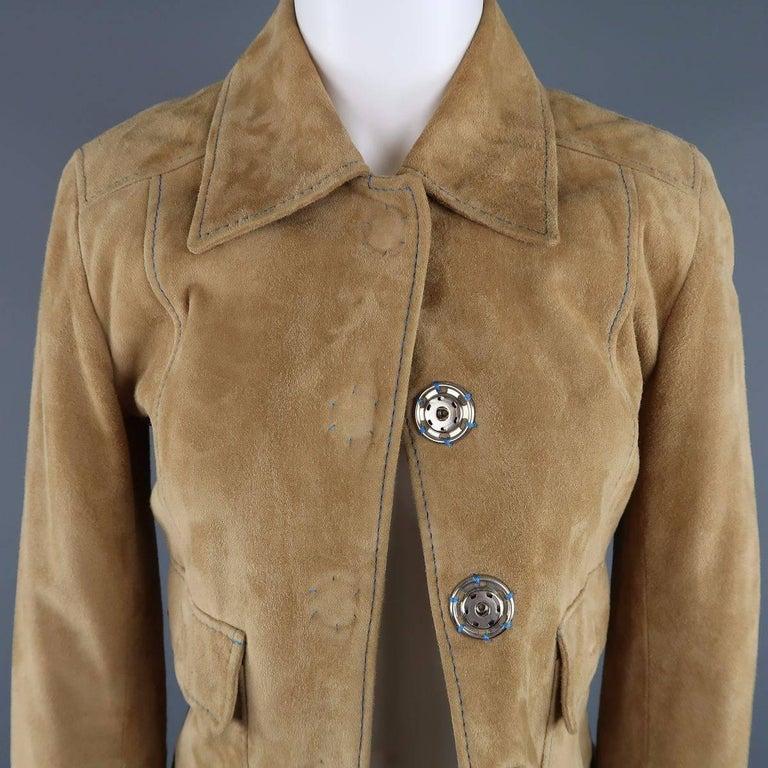 DOLCE & GABBANA Size 4 Beige Suede Blue Stitching Snap Jacket 5