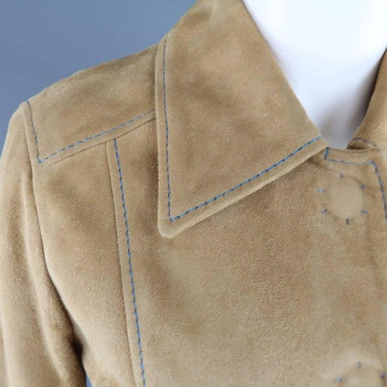 DOLCE & GABBANA Size 4 Beige Suede Blue Stitching Snap Jacket 3