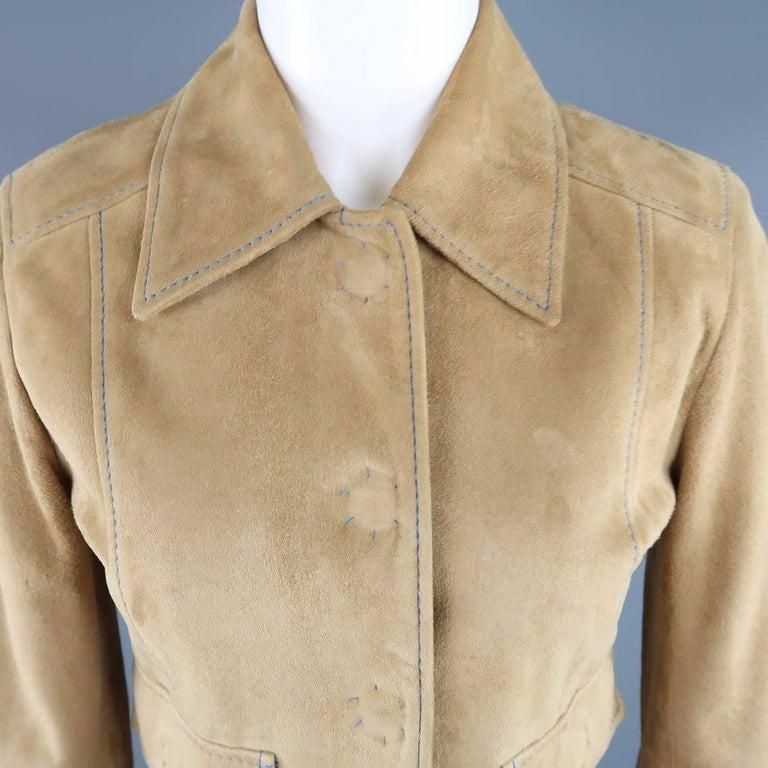 DOLCE & GABBANA Size 4 Beige Suede Blue Stitching Snap Jacket 2