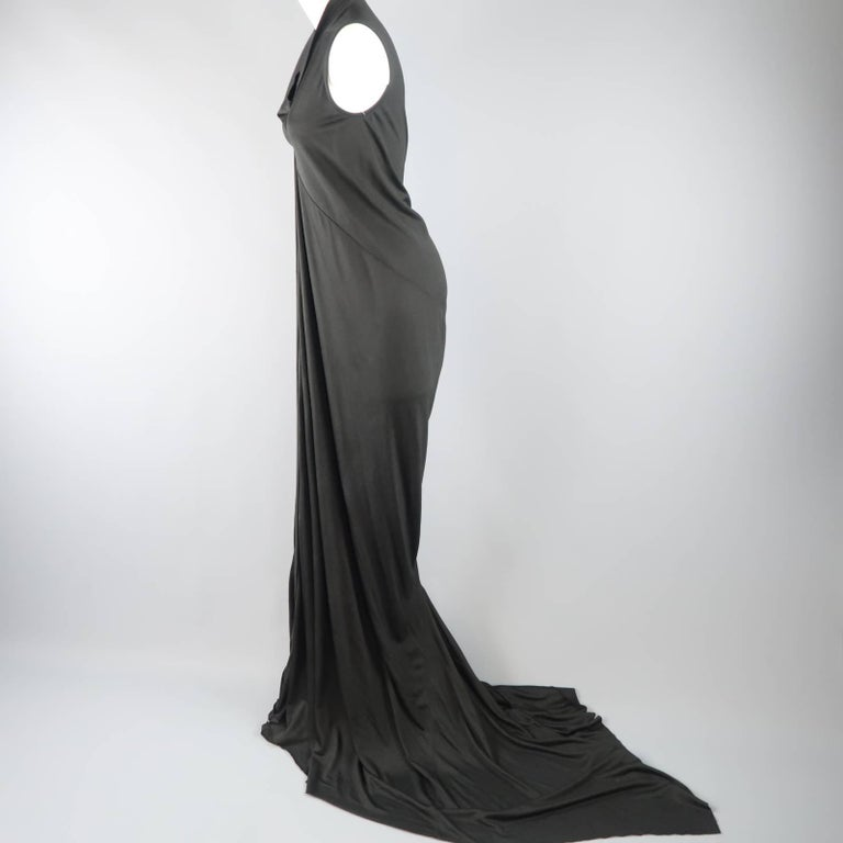 RICK OWENS Dress Maxi - Size 8 Black Silk Ruched Mermaid Train In New never worn Condition For Sale In San Francisco, CA