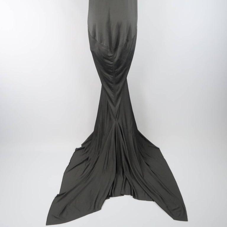 RICK OWENS Dress Maxi - Size 8 Black Silk Ruched Mermaid Train For Sale 3