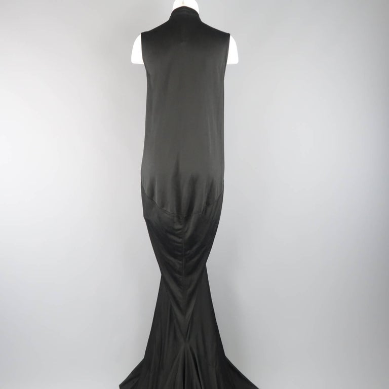 Women's RICK OWENS Dress Maxi - Size 8 Black Silk Ruched Mermaid Train For Sale