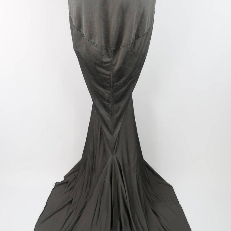 RICK OWENS Dress Maxi - Size 8 Black Silk Ruched Mermaid Train For Sale 1