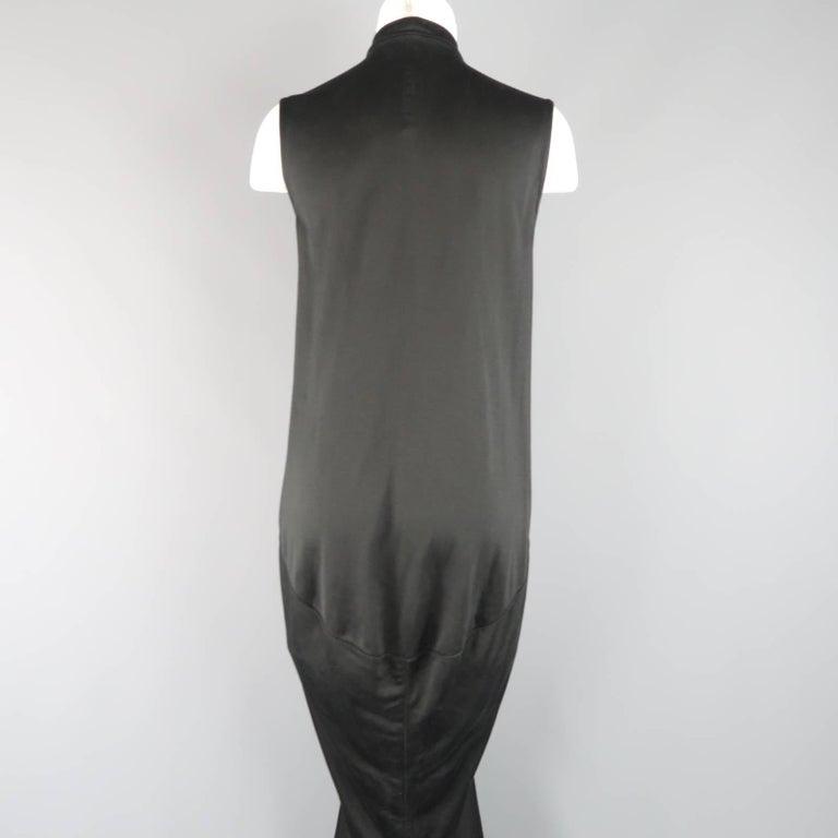 RICK OWENS Dress Maxi - Size 8 Black Silk Ruched Mermaid Train For Sale 2