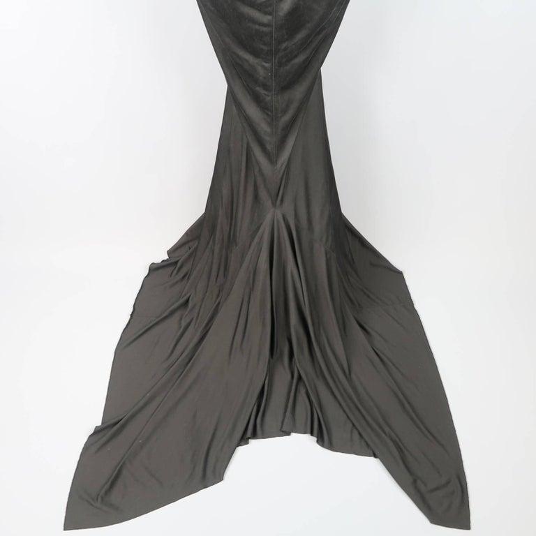 RICK OWENS Dress Maxi - Size 8 Black Silk Ruched Mermaid Train For Sale 4
