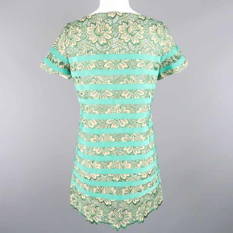 Women's SACAI Luck Size 2 Green Ribbon Striped Lace Shift Dress For Sale
