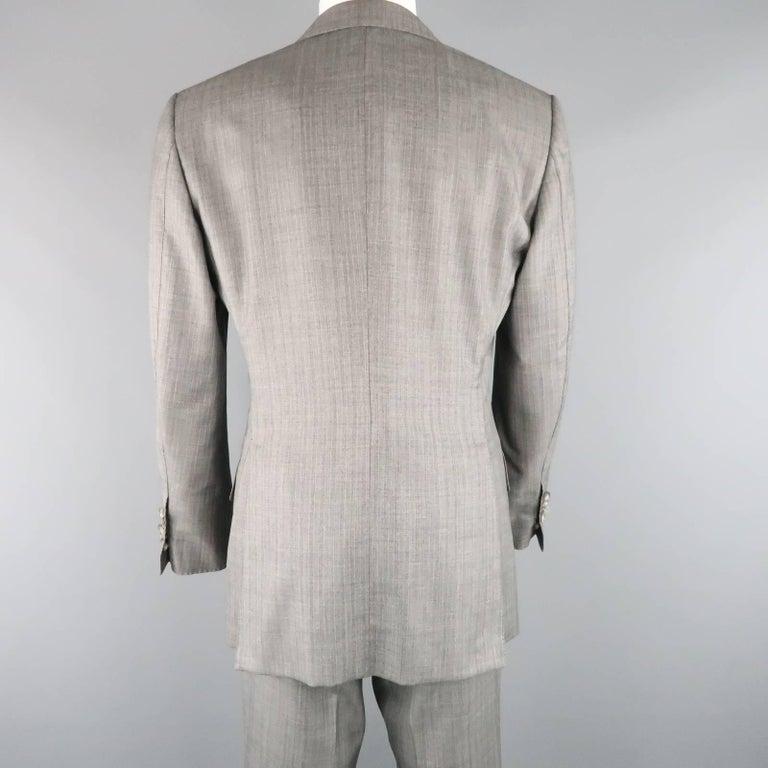 Men's TOM FORD 40 Regular Grey Herringbone Wool Peak Lapel Suit 4