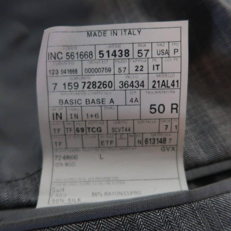 Men's TOM FORD 40 Regular Grey Herringbone Wool Peak Lapel Suit 10