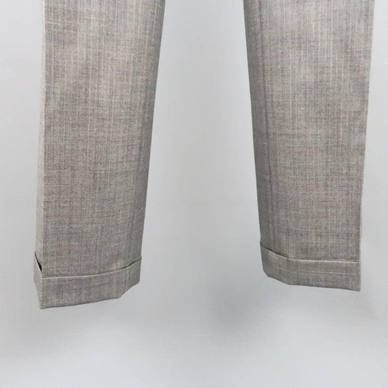 Men's TOM FORD 40 Regular Grey Herringbone Wool Peak Lapel Suit 8