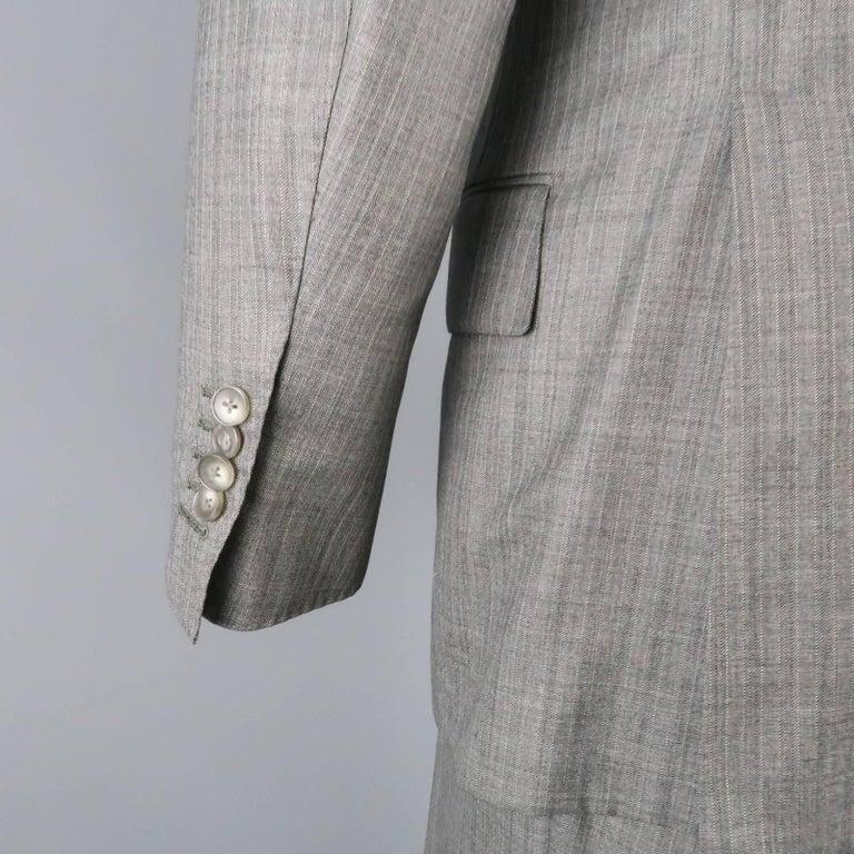 Men's TOM FORD 40 Regular Grey Herringbone Wool Peak Lapel Suit 5