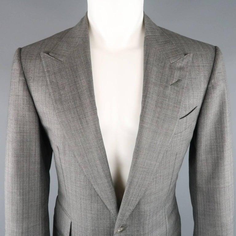 Men's TOM FORD 40 Regular Grey Herringbone Wool Peak Lapel Suit 3