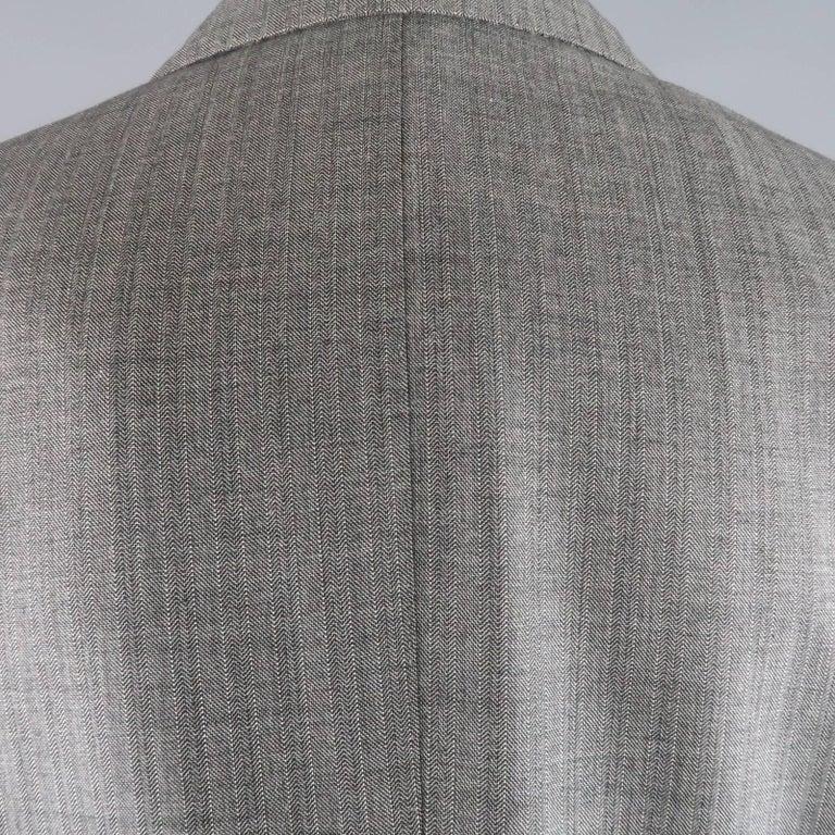 Men's TOM FORD 40 Regular Grey Herringbone Wool Peak Lapel Suit 6