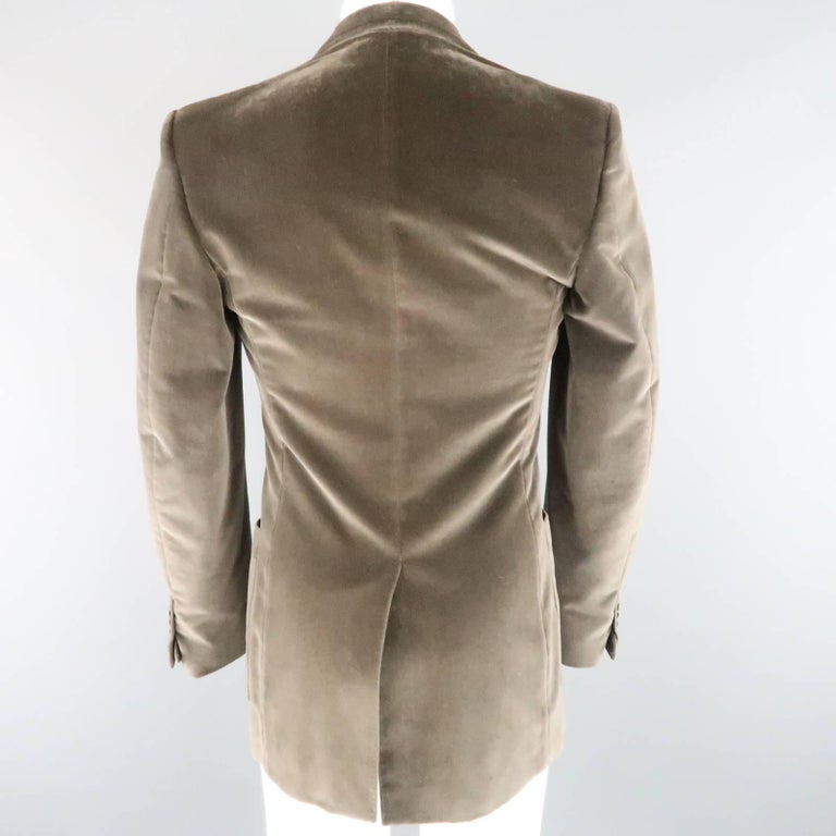 YVES SAINT LAURENT Size 34 Dark Taupe Velvet Patch Pocket Sport Coat For Sale 1