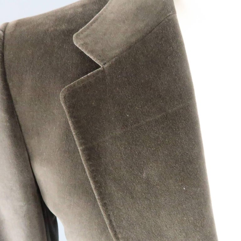 Gray YVES SAINT LAURENT Size 34 Dark Taupe Velvet Patch Pocket Sport Coat For Sale