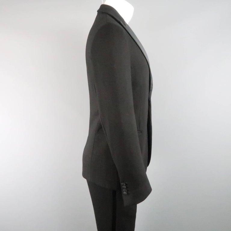 New GIORGIO ARMANI 38 Regular Black Jersey Satin Tuxedo Suit- Retail $3,195.00 For Sale 1