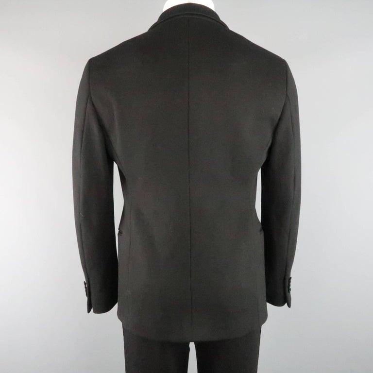 New GIORGIO ARMANI 38 Regular Black Jersey Satin Tuxedo Suit- Retail $3,195.00 For Sale 2