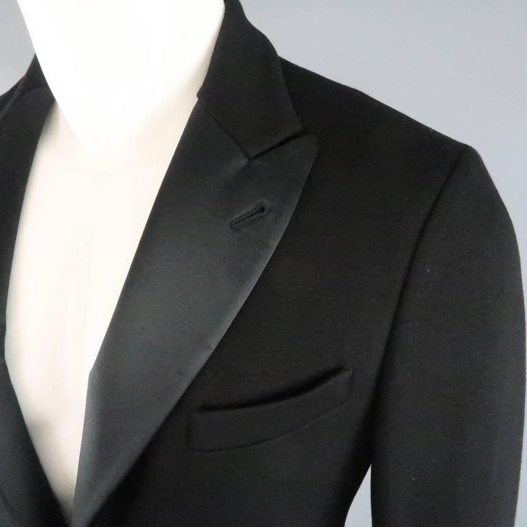 New GIORGIO ARMANI 38 Regular Black Jersey Satin Tuxedo Suit- Retail $3,195.00 In New Condition For Sale In San Francisco, CA