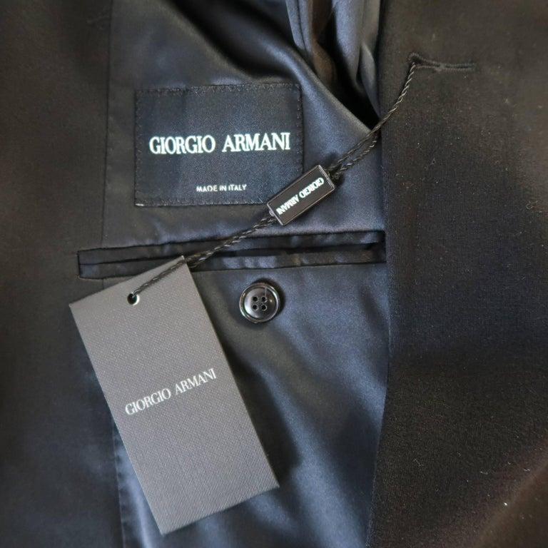 New GIORGIO ARMANI 38 Regular Black Jersey Satin Tuxedo Suit- Retail $3,195.00 For Sale 6