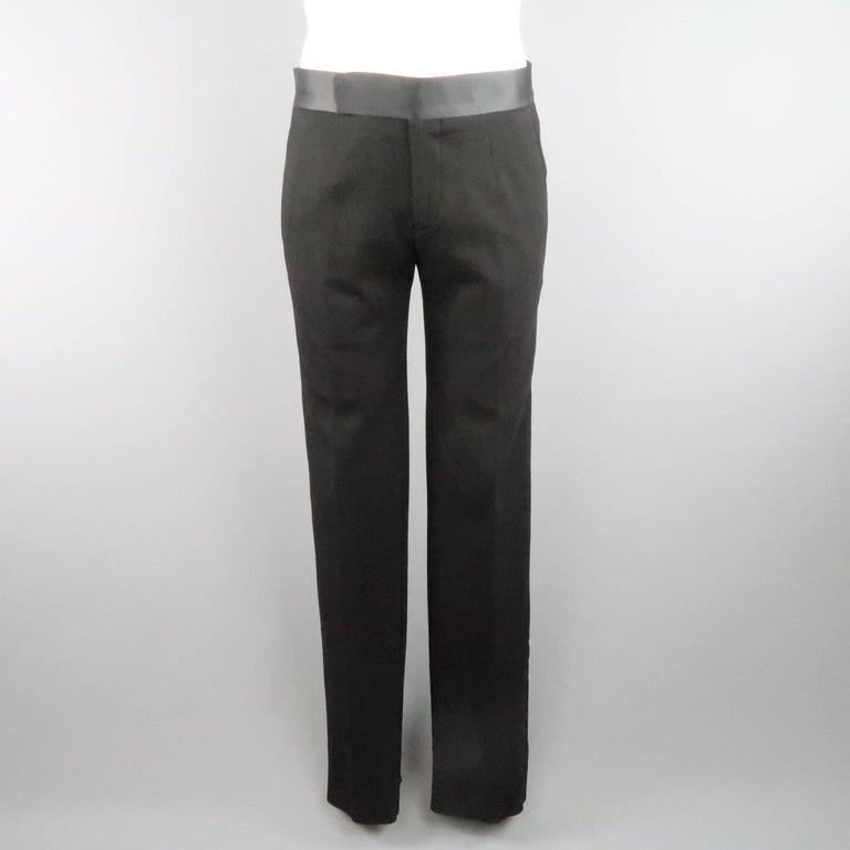 New GIORGIO ARMANI 38 Regular Black Jersey Satin Tuxedo Suit- Retail $3,195.00 For Sale 3