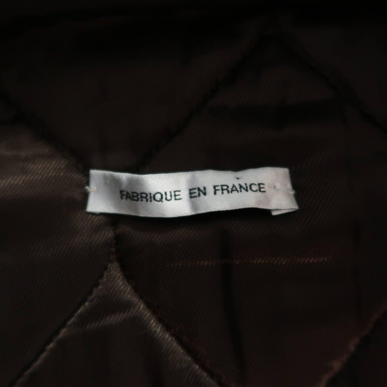 BALENCIAGA 38 Brown Leather Collared Cropped Bomber Jacket For Sale 3