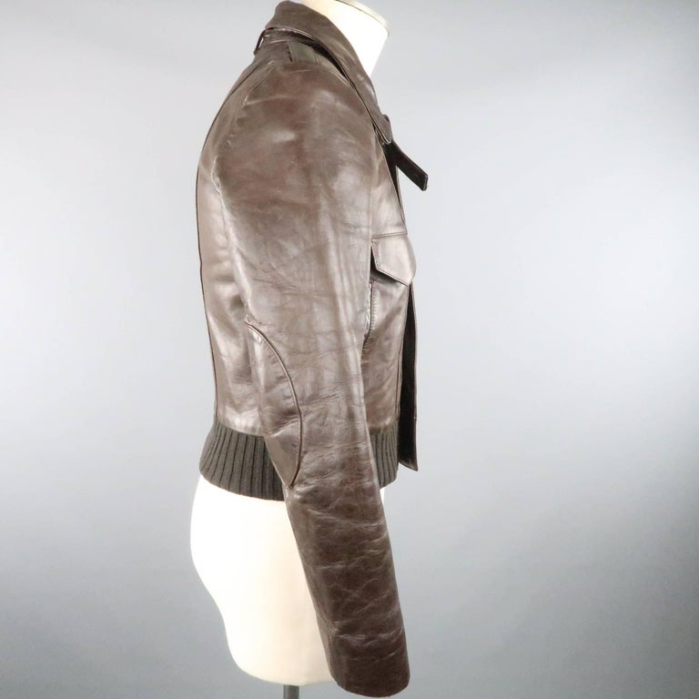 BALENCIAGA 38 Brown Leather Collared Cropped Bomber Jacket In Good Condition For Sale In San Francisco, CA