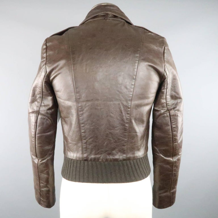 BALENCIAGA 38 Brown Leather Collared Cropped Bomber Jacket For Sale 1