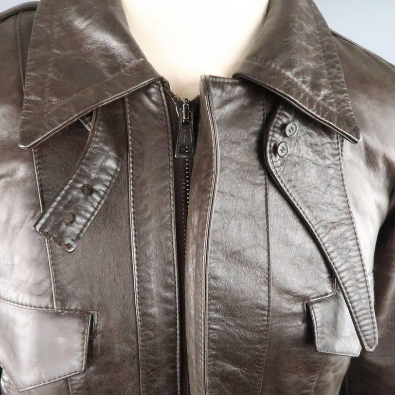 Gray BALENCIAGA 38 Brown Leather Collared Cropped Bomber Jacket For Sale