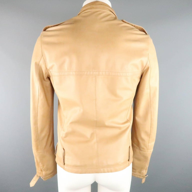 Men's GUCCI by TOM FORD 38 Light Tan Leather Motorcycle Jacket 2000 For Sale 2
