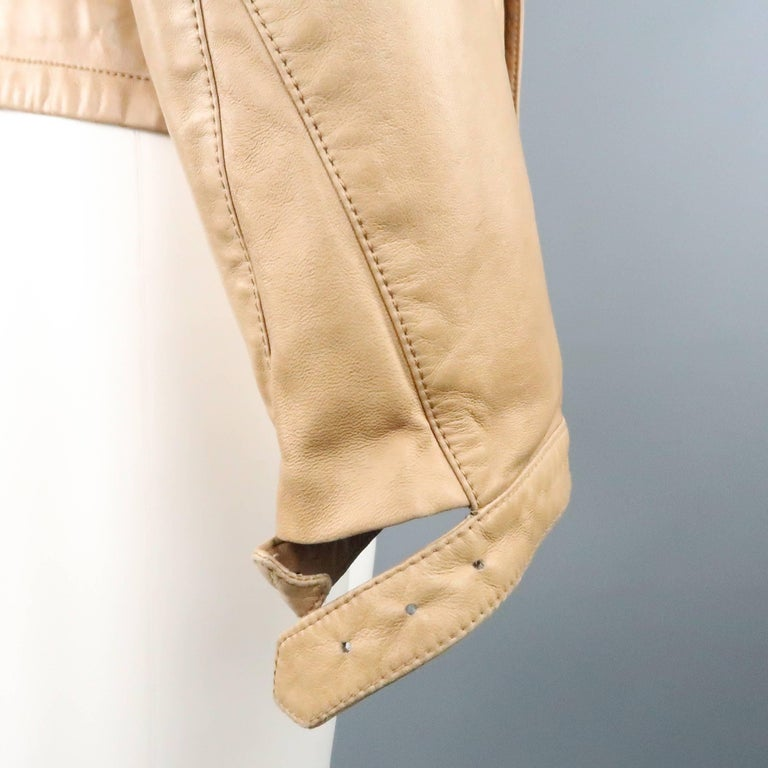 Men's GUCCI by TOM FORD 38 Light Tan Leather Motorcycle Jacket 2000 For Sale 1