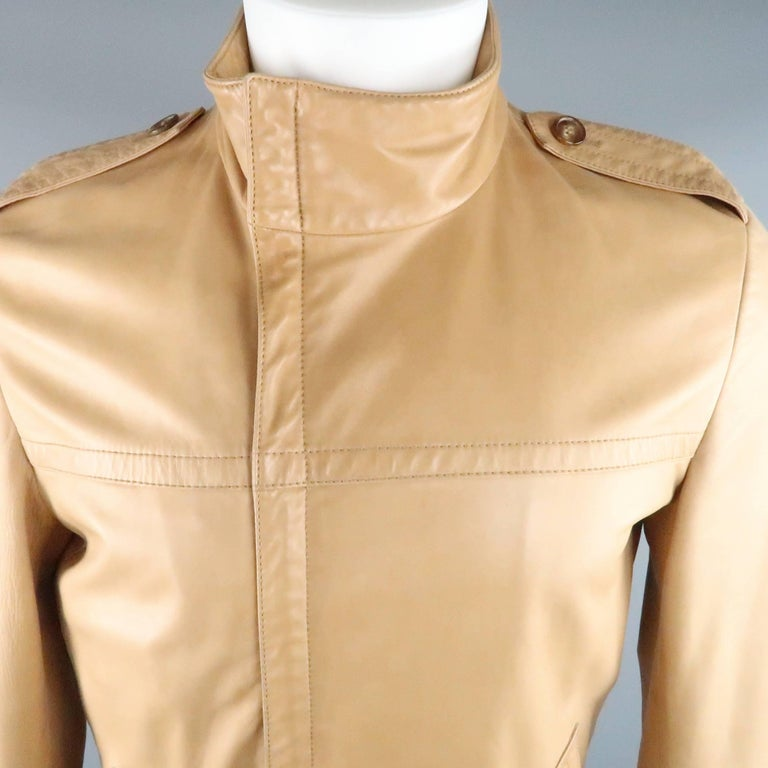 Orange Men's GUCCI by TOM FORD 38 Light Tan Leather Motorcycle Jacket 2000 For Sale