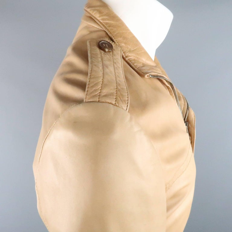 Men's GUCCI by TOM FORD 38 Light Tan Leather Motorcycle Jacket 2000 In Good Condition For Sale In San Francisco, CA