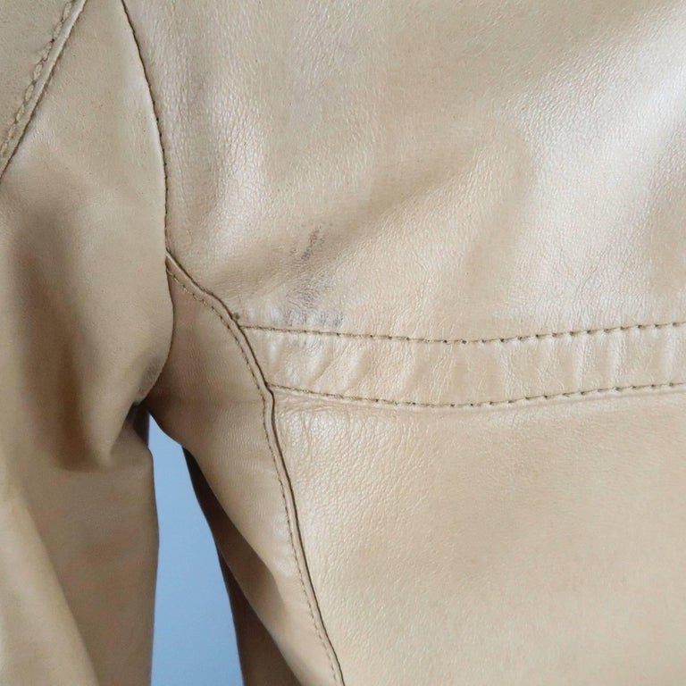 Men's GUCCI by TOM FORD 38 Light Tan Leather Motorcycle Jacket 2000 For Sale 3