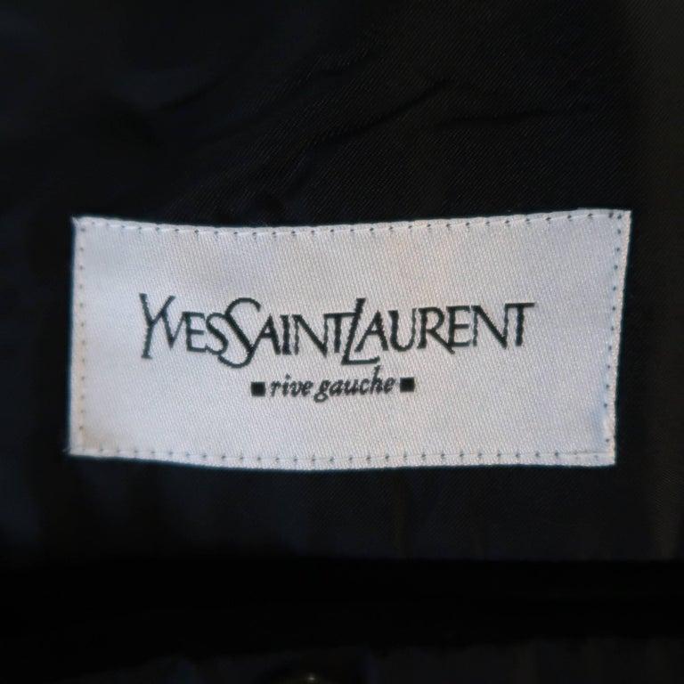 Men's YVES SAINT LAURENT 38 Black Velvet Notch Lapel 2 Button Sport Coat 6
