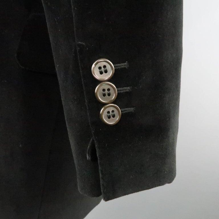 Men's YVES SAINT LAURENT 38 Black Velvet Notch Lapel 2 Button Sport Coat 4