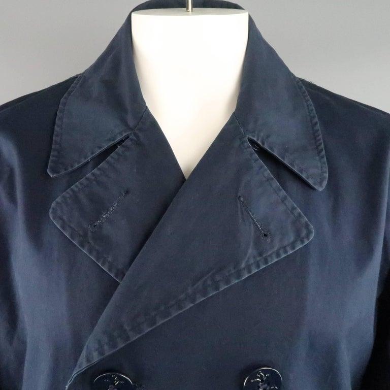 Men S Junya Watanabe Man L Navy Solid, Black Cotton Pea Coat