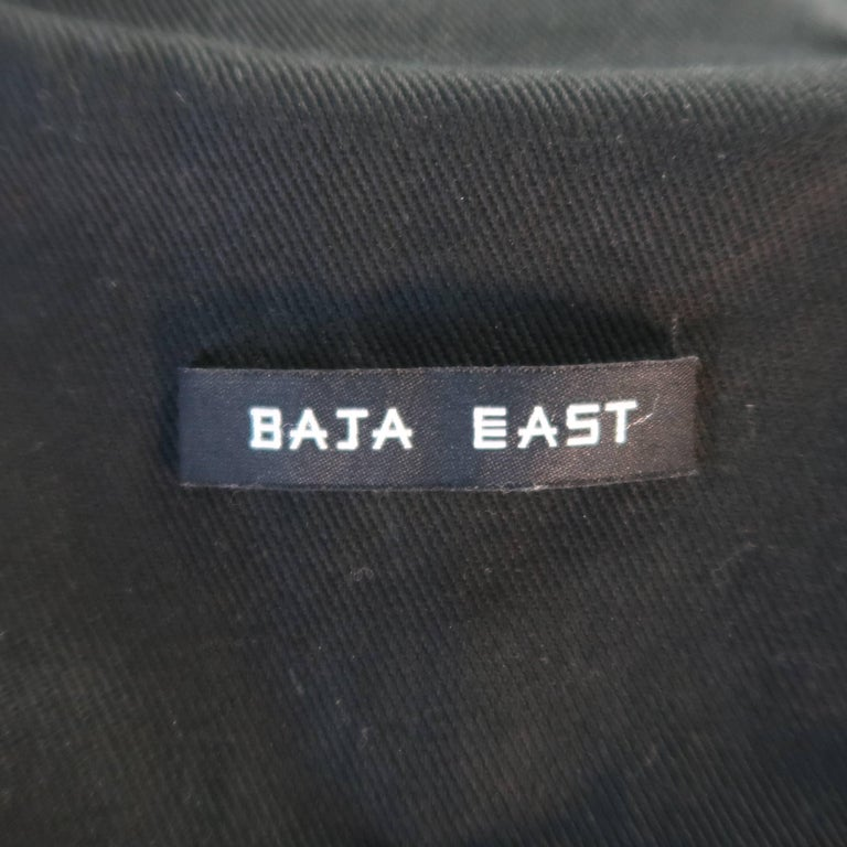 BAJA EAST 40 Black Perforated Ponyhair Leather and Twill Biker Jacket 10