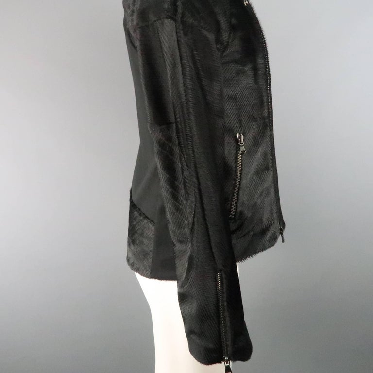 BAJA EAST 40 Black Perforated Ponyhair Leather and Twill Biker Jacket 7