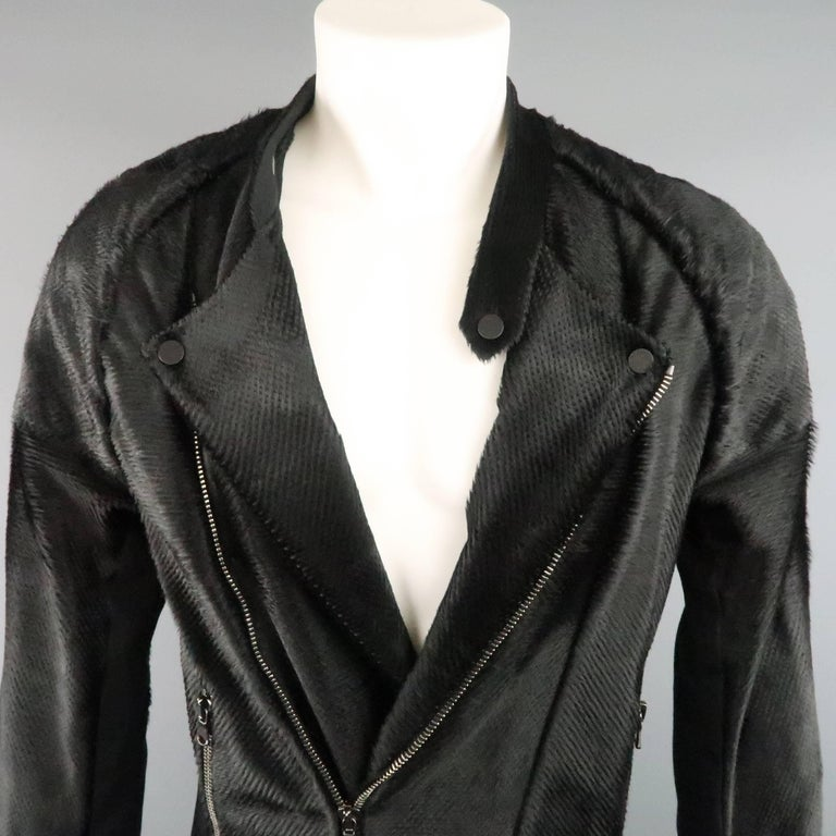 BAJA EAST 40 Black Perforated Ponyhair Leather and Twill Biker Jacket 3