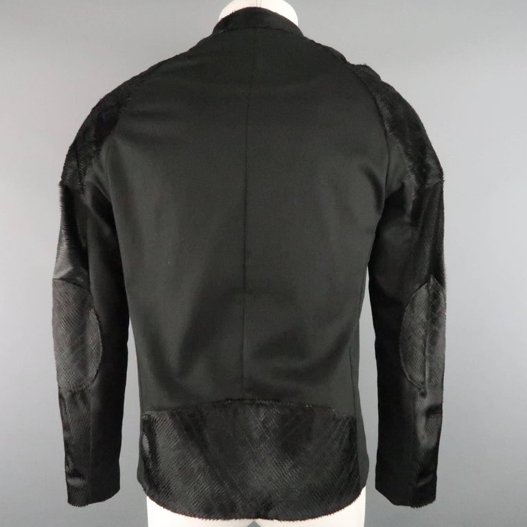 BAJA EAST 40 Black Perforated Ponyhair Leather and Twill Biker Jacket 8