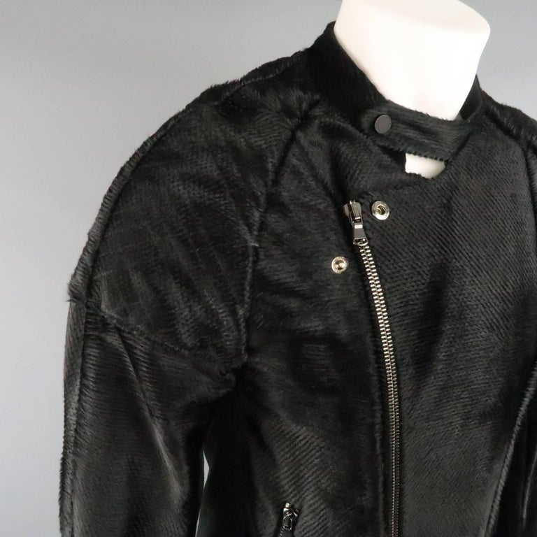 BAJA EAST 40 Black Perforated Ponyhair Leather and Twill Biker Jacket 6