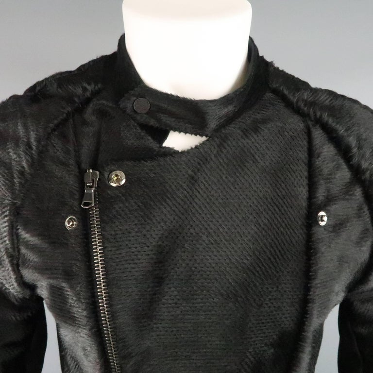 BAJA EAST 40 Black Perforated Ponyhair Leather and Twill Biker Jacket 5