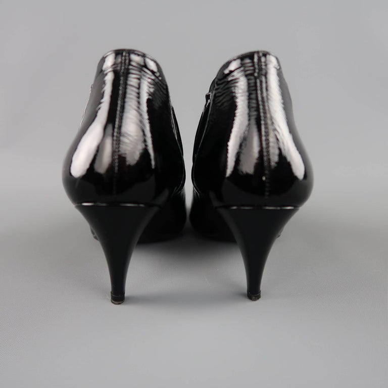 PRADA Size 7.5 Black Textured Patent Leather Pointed Kitten Heel Booties For Sale 2
